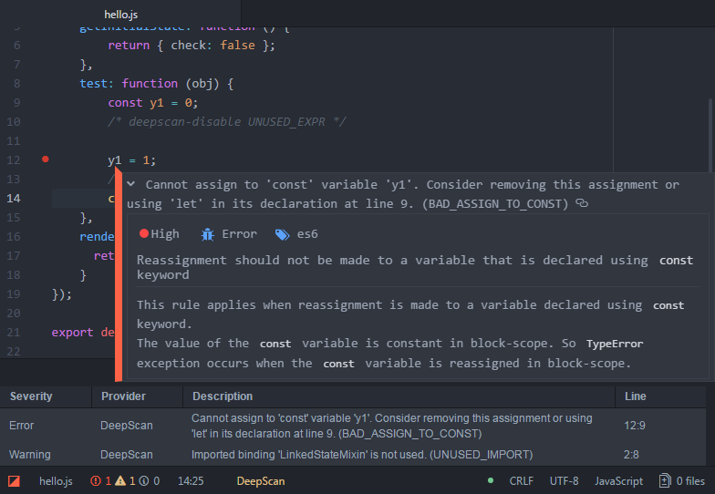 Atom package: Show a rule information directly