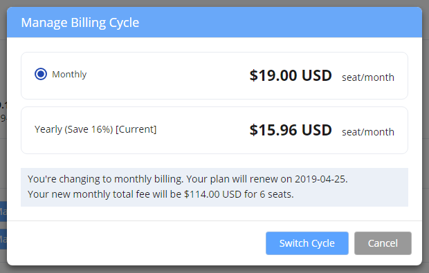 Change billing cycle