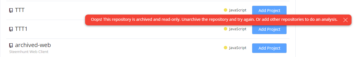 Error for archived repository